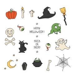 Happy Halloween Set with pumpkins skulls cats vector image