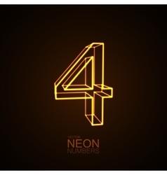 Neon 3D number 4 vector image