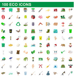 100 eco icons set cartoon style vector image