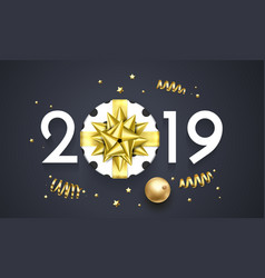 2019 happy new year glitter gold card vector image