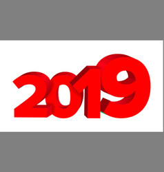 2019 red sign sign 3d numbers 2019 vector image