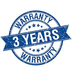 3 years warranty grunge retro blue isolated ribbon vector