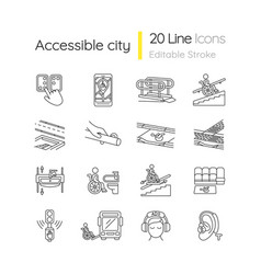 Accessibility facilities linear icons set vector