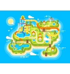 aquapark plan flat vector image