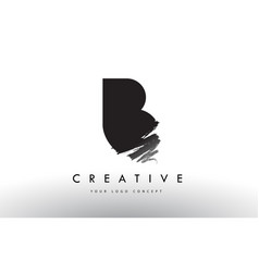 B brushed letter logo black brush letters design vector