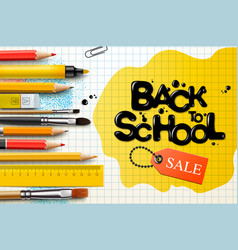 back to school sale design with pencils and vector image