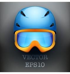 Background of Classic Ski helmet and orange vector image