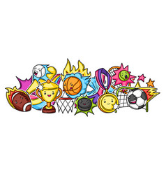 background with kawaii sport items vector image