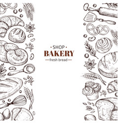 bakery retro background with hand drawn vector image