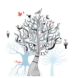 beautiful magical trees vector image