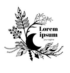 Boho doodle emblem vector image