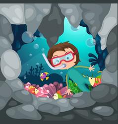 Boy scuba diving vector