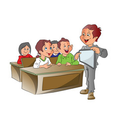 boy teaching using a tablet pc vector image