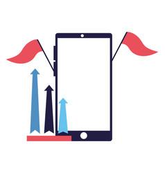 business smartphone flag arrows vector image