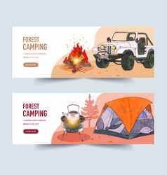 Camping banner design with campfire car tent vector
