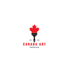 Canada maple leaf with brush paint logo design vector