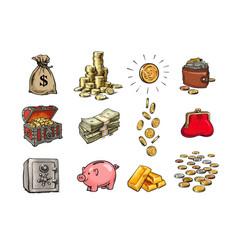 cartoon finance money set sack dollars stack vector image