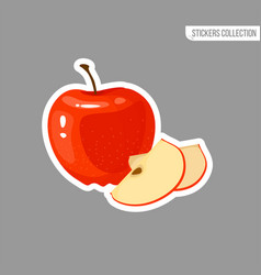 cartoon fresh apple isolated sticker vector image