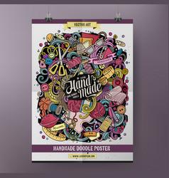 cartoon hand drawn doodles handmade poster design vector image