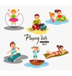 Cartoon kids playing boy playing with a toy car vector