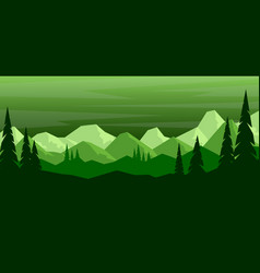 cartoon mountain landscape with pine trees in vector image