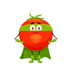 cartoon tomato super hero isolated icon vector image