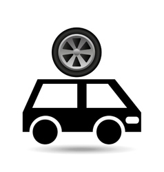 cartoon van car wheel icon design vector image