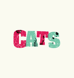 Cats concept colorful stamped word vector