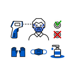 check control medical mask and gloves thermometer vector image