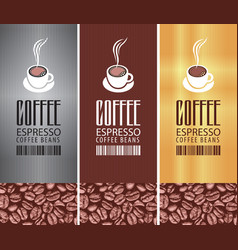 Coffee labels with cup barcode and coffee beans vector