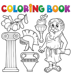 Coloring book greek theme 1 vector
