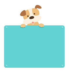 cute puppy hold empty board vector image