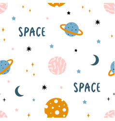 cute space seamless pattern with planets and stars vector image