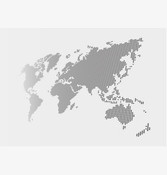 distorted and dotted style world map on gray vector image