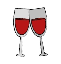 drawing two glass red wine drink vector image