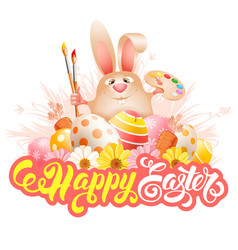 easter bunny with art paint brushes palette vector image