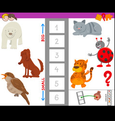 Educational game with large and small animal vector