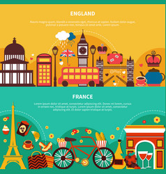 England and france horizontal banners vector