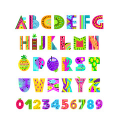 English alphabet in summer style vector