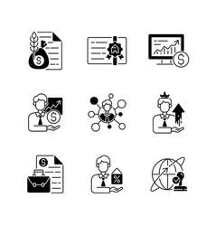 financial advisor black linear icons set vector image