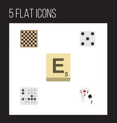 Flat icon games set of chess table ace mahjong vector