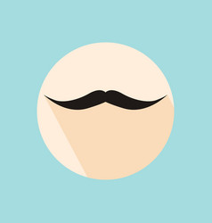 Flat long shadow hipster retro style mustache vector