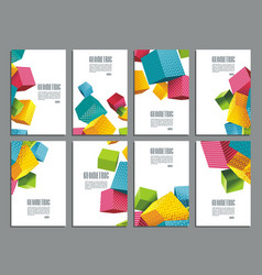flyers abstract geometric style with color cubes vector image