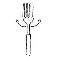 Fork cutlery kawaii character vector