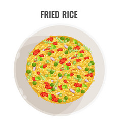 fried rice in white bowl plane-view vector image