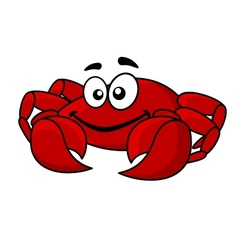 Fun smiling red cartoon crab vector image