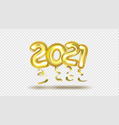 gold gel balloons numbers two thousand twenty one vector image