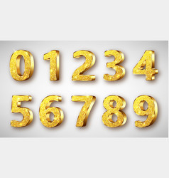golden metal numbers realistic with sparkles vector image