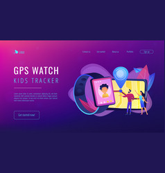 Gps kids tracker concept landing page vector
