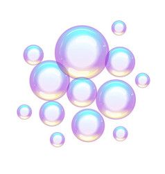 group of colorful soap bubbles small and large vector image